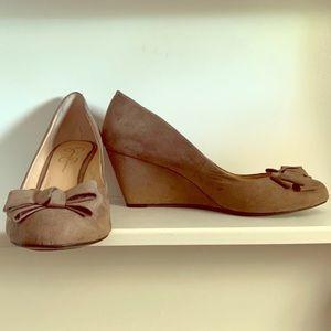 Jessica Simpson Microsuede Sheryl Taupe Wedge Heel